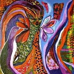 """#Bloom True 2nd painting """"Tiger Lady & Penguin"""""""