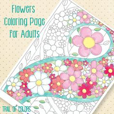 Lovely Free Flower Coloring Page for grown ups. Of course this sheet is perfect for little ones too. Enjoy!