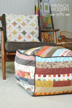 Cute idea for some casual seating in living, can be put away when not needed