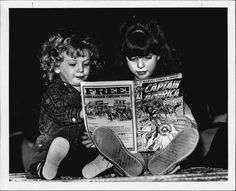 Two Little Girls Reading Captain America  c.1982  Press Photo
