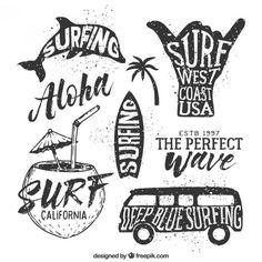 Barbados Surfing conditions are ideal for any level of surfer. Barbados is almost guaranteed to have surf somewhere on any given day of the year. Surf Design, Logo Design, Hawaiianisches Tattoo, Tattoos, Surf Vintage, Vintage Tees, Stylo Art, Ink Doodles, Poster S