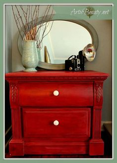 Wake up a tired nightstand with firecracker red paint.