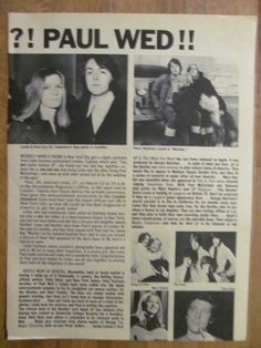 Paul McCartney, The Beatles, Full Page Vintage Clipping