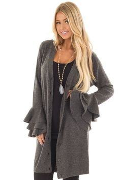 Charcoal Layered Bell Long Sleeve Button Up Cardigan front closeup