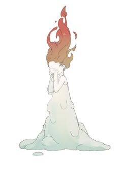 original posts - らくがき this artwork is very unique and intresting, its shows a little girl crying as she melting away like a candle #U4APSA