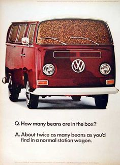 1968 Volkswagen Bus original vintage advertisement. Photographed in vivid color. And the beans? There are exactly 1,612,462 beans in this bus!