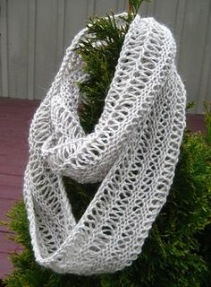 Infinity Drop Stitch Scarf - knit on circular needles - nice clear instructions - looks like a fun project. be sure to use the longer needles. was harder with but pattern worked good, I just didn't like the yarn I used. Infinity Scarf Knitting Pattern, Lace Knitting, Knitting Socks, Knitting Patterns Free, Knit Patterns, Knit Or Crochet, Crochet Scarves, Knitting Projects, Textiles