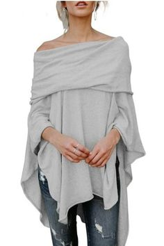 online shopping for maxyiyi Women Poncho Pullover Sweater Asymmetric Overlay Solid Clothing Casual Fall Tops from top store. See new offer for maxyiyi Women Poncho Pullover Sweater Asymmetric Overlay Solid Clothing Casual Fall Tops Mode Outfits, Fashion Outfits, Womens Fashion, Casual Outfits, Blouse Ample, Casual Fall, Casual Tops, Look Fashion, Types Of Sleeves