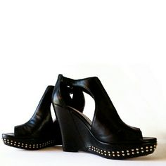 """NWT Vince Camuto Studded Wedge Sandals Heels So pretty. I thought they were a size 5.5 but they're a size 6. Adjustable strap closure. 4.5"""" heel w/just under 1"""" small platform in front. Vince Camuto Shoes Sandals"""