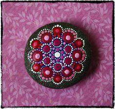 Jewel Drop Mandala Painted Stone- Summer Berries