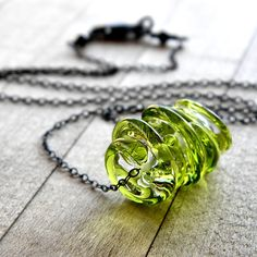 Necklace , Clear and Lime Green Swirled Lampwork Disks Oxidized Sterling Silver - Key Lime Pie