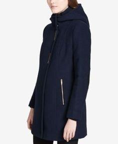 Calvin Klein Hooded Wool-Blend Walker Coat - Blue XXS