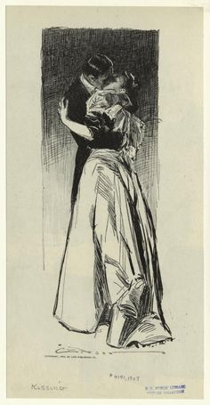 """Kissing"" 1907 Illustration by Charles Dana Gibson"