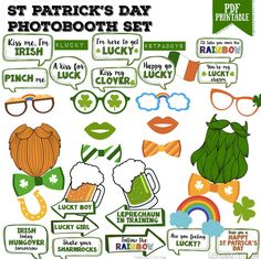 Maxi pack St Patrick's day party bubble speech Photo booth props - printable, photobooth, St Paddy's day party - PDF, INSTANT DOWNLOAD