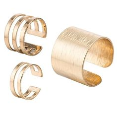 #TomTop - #TomTop 3Pcs Top of Finger Over the Midi Tip Above Knuckle Open Ring Metal Copper Gold Plated Punk Cool Women Girls Fashion Charming Stacking Joint Mid Gothic Rings - AdoreWe.com