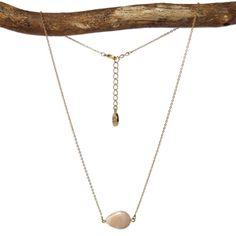 Verstelbaar kort gouden ketting parelmoer druppel half edelsteen sieraden trends musthave