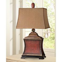 "Uttermost Pavia Aged Red Woven Texture Table Lamp 33"" tall, $213"