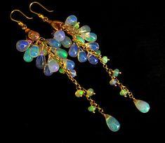 AAA Ethiopian Welo Opal-Solid Gold Cascade Waterfall Earrings from mwudesigns on Ruby Lane Opal Earrings, Opal Jewelry, Bridal Jewelry, Jewelry Art, Gold Jewelry, Vintage Jewelry, Fine Jewelry, Jewelry Design, Jewelry Making