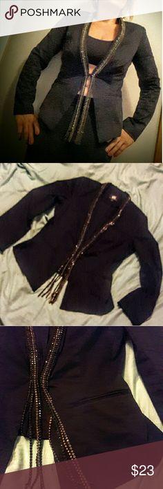 "💰SALE💰Women's Black Faux Rhinestone Trim NWOT.         ROCK & REPUBLIC  Women's Black Faux Rhinestone Trim Blazer Jacket  Approximate measurements lying flat unstretched:   🎼 shoulder to shoulder 16"" 🎶 armpit to armpit 19"" 🎤 armpit to arm cuff 17"" 🎧 shoulder to arm cuff  24"" 🎷 armpit to hem 14"" 🎸 shoulder to hem 24""  Shell:  98% Cotton,   2% Spandex.    Unlined.      2 faux pockets.      Long sleeve.  Open Front Jeweles Jacket. Rock & Republic Jackets & Coats Blazers"