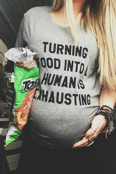 Turning Food Into A Human is Exhausting, Food Baby Shirt, Funny Pregnancy Shirt, Pregnancy An. Funny Pregnancy Shirts, Pregnancy Announcement Shirt, Pregnancy Humor, Pregnancy Care, First Pregnancy, Baby Shirts, Pregnancy Photos, Pregnancy Clothes, Pregnancy Outfits