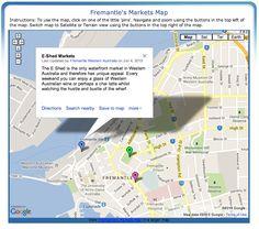 Fremantle's Markets Map including the Fremantle Markets & eShed, Fremantle Western Australia Western Australia, Maps, Marketing, Blue Prints, Map, Cards