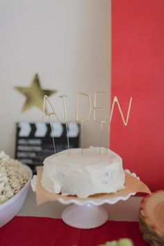 Sparkler candles at a movie themed birthday party