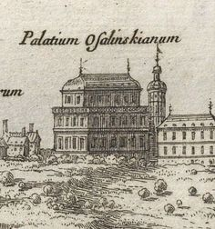Ossoliński and Kazanowski-Radziejowski Palace in 1656, detail of View of Warsaw from the Vistula River by Nicolas Pérelle after Erik Dahlbergh, 1696, National Library in Warsaw. #17thcentury #artinpl #architecture #mannerism #baroque Warsaw, 17th Century, Baroque, Palace, River, Detail, Architecture, Art, Arquitetura