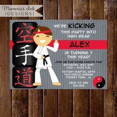 Karate Boy or Girl Custom Birthday Invitation- Tae Kwan Do Party - Karate Party - PRINTABLE INVITATION DESIGN by MommiesInk on Etsy https://www.etsy.com/listing/67513577/karate-boy-or-girl-custom-birthday