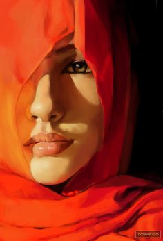 Wrapped in a Mystery.... Artist: Zombiey {contemporary artist beautiful female woman in vivid red portrait oil painting}