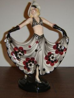 RARE Austrian Goldscheider Art Deco Maiden Figurine Lady Mint Condition Signed Dakon