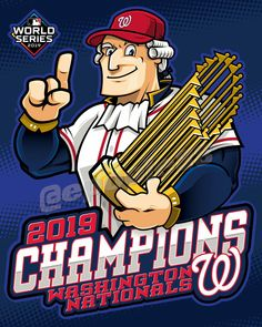 Washington Nationals - The 2019 MLB World Series Champions | A Nationalist member carries the World Series Trophy. #MLB #StayInTheFight