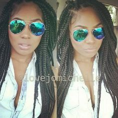 ***Try Hair Trigger Growth Elixir*** ========================= {Grow Lust Worthy Hair FASTER Naturally with Hair Trigger} ========================= Go To: www.HairTriggerr.com ========================= Box Braids with Stylish Green Tinted Aviators On
