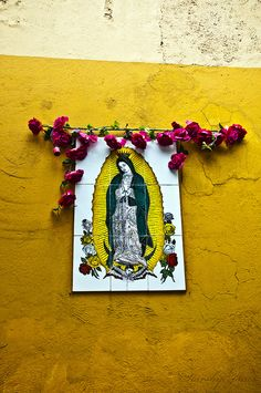 Madonna. Virgin Mary. Flowers. Colors. All of it.