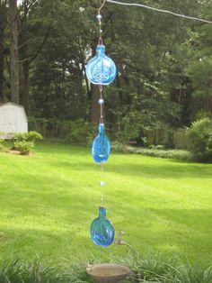 Glass Mobile -Blue peace Bottle Windchime, tie dye beads, bottle windchimes, 60s, hippie art, slumped bottles, melted bottle, vintage glass on Etsy, $35.00