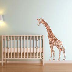 "Wall Decal Giraffe Nursery Vinyl Wall Art Decor. Our giraffe nursery wall decal stands 50 inches tall and is 33½"" wide. She is shown here on a Nursery wall peeking in on the crib. $42.50 #giraffe"