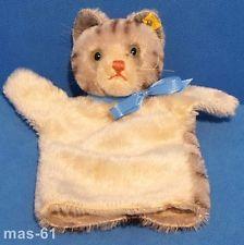Steiff mano muñeca gato angora de mano-gato gestromelt Cat Vintage