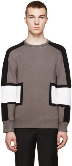 Neil Barrett Grey Colorblock Modernist Sweatshirt
