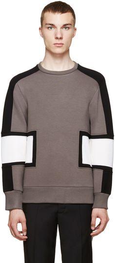 Neil Barrett Grey Colorblock Modernist Sweatshirt