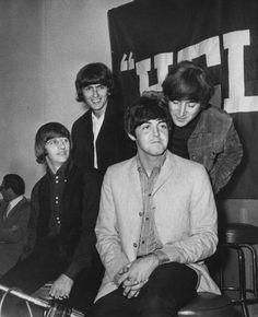 "George Harrison, John Lennon, Richard Starkey, and Paul McCartney (August 29th 1965 Beatles ""Help!"" Press Conference)"
