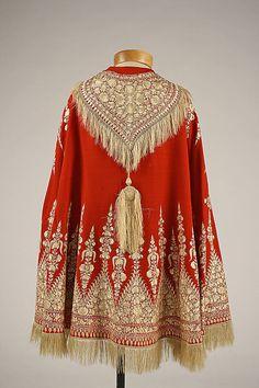 Red Wool Cape, European, 1850s.