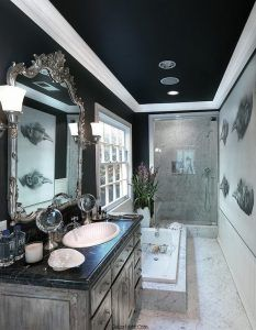 Dark Ceiling Gives The Narrow Bathroom A Cozy Refined Ambiance Design Philip Nimmo