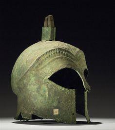 Corinthian Type Bronze Helmet BC Archaic Greek (Source: The British Museum) Archaic Greece, Ancient Greece, Ancient Egypt, British Museum, Greek Helmet, Helmet Head, Corinthian Helmet, Ancient Armor, Cairo