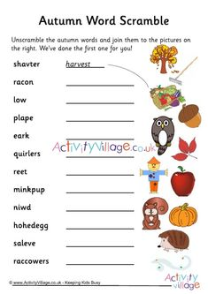 We've jumbled up some autumn vocabulary, and the children need to unscramble each word and match to the lovely illustrations on the right. Jumble Word Puzzle, Mickey Coloring Pages, Activity Village, Autumn Activities For Kids, Vocabulary Worksheets, Word Puzzles, Autumn Crafts, Activity Sheets, Business For Kids