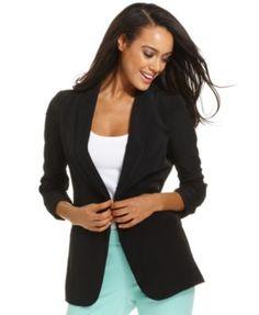 Alfani Jacket, Three-Quarter-Sleeve Ruched Blazer