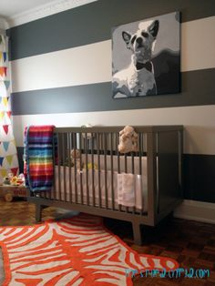 Striped Wall in Eclectic Girl's BabyNursery