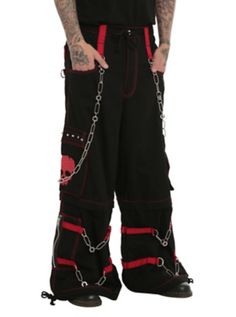 edeb8e0979299 Black pants from Tripp with red skull graphics