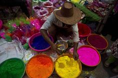 The Hindu festival of Holi is under way in India. The two-day celebration signifies the victory of good over evil and marks the end of winter and the arrival of spring Holi, End Of Winter, Hindu Festivals, Color Powder, Lord Krishna, Colorful Pictures, Illustration, Color Schemes, The Unit