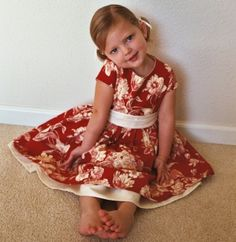 cutie in red toile dress Little Girl Dresses, Girls Dresses, Summer Dresses, Fabric Decor, Fabric Design, Flat Felled Seam, Diaper Covers, Girly Girl, I Dress