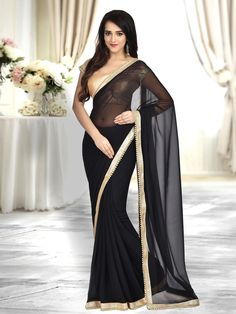 bfc5eebf05981b Buy Craftsvilla Black Color Georgette Lace Border Saree With Unstitched  Blouse Piece online. ✯ 100