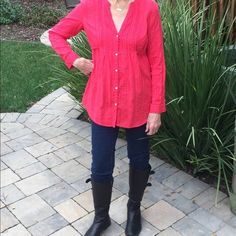 Cute blouse made for jeans. This cute red casual blouse is so comfortable.  It goes well with jeans and is eye catching. Old Navy Tops Blouses